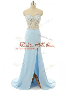 Light Blue Zipper Prom Dresses Beading Sleeveless Brush Train