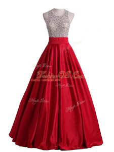 Scoop Sleeveless Satin Military Ball Gowns Beading Backless