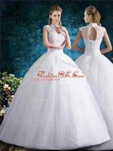 Traditional High-neck Sleeveless Tulle Bridal Gown Beading and Embroidery Lace Up