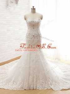 Luxurious Sweetheart Sleeveless Lace Wedding Gowns Beading and Lace and Appliques Court Train Lace Up