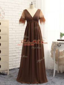 Gorgeous Brown Empire V-neck Sleeveless Chiffon Floor Length Zipper Beading and Ruching Mother Of The Bride Dress