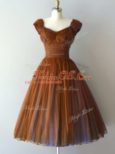 Brown A-line V-neck Cap Sleeves Chiffon Knee Length Zipper Ruching Bridesmaid Dress