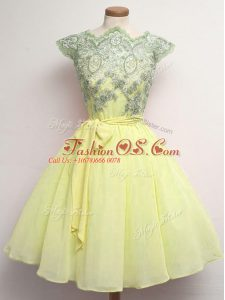 Colorful Chiffon Cap Sleeves Knee Length Quinceanera Court Dresses and Lace and Belt