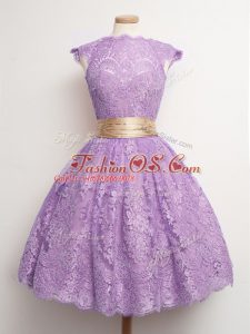 Stylish Lavender Lace Up High-neck Belt Wedding Party Dress Lace Cap Sleeves