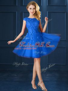 Charming Blue Bateau Neckline Lace and Belt Bridesmaid Gown Cap Sleeves Lace Up