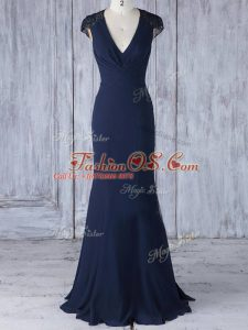 Trendy Navy Blue Cap Sleeves Floor Length Lace Side Zipper Bridesmaid Dress