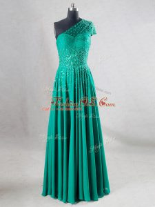 Sleeveless Chiffon Floor Length Backless Teens Party Dress in Turquoise with Beading and Pleated