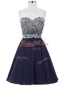 Stunning Navy Blue A-line Sweetheart Sleeveless Chiffon Mini Length Lace Up Beading Cocktail Dress