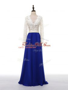 Long Sleeves Chiffon Floor Length Zipper Mother Of The Bride Dress in Blue And White with Lace and Appliques