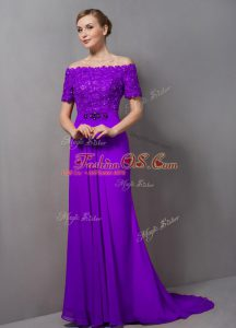 Empire Short Sleeves Eggplant Purple Mother Of The Bride Dress Sweep Train Zipper