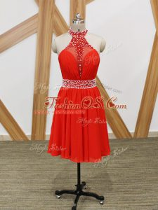 Halter Top Sleeveless Zipper Party Dress Coral Red Chiffon