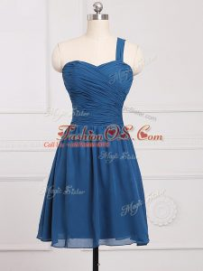 Blue Zipper Quinceanera Dama Dress Ruching Sleeveless Mini Length