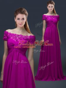 Fuchsia Off The Shoulder Lace Up Appliques Mother Of The Bride Dress Short Sleeves