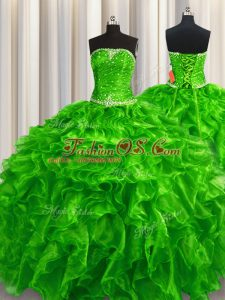 High Class Green Sleeveless Organza Lace Up Quinceanera Gown for Military Ball and Sweet 16 and Quinceanera