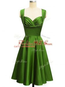 Knee Length Lace Up Dama Dress Green for Prom and Party and Wedding Party with Ruching
