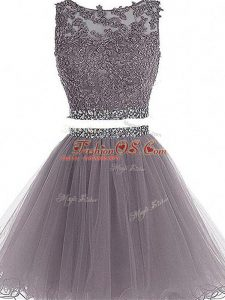 Grey Sleeveless Beading and Lace and Appliques Mini Length Prom Evening Gown