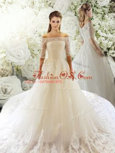 Clearance White Wedding Dresses Tulle Court Train Half Sleeves Lace