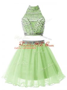 Fantastic Organza High-neck Sleeveless Zipper Beading Wedding Guest Dresses in Yellow Green