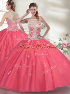 Hot Pink Sleeveless Floor Length Beading Zipper Vestidos de Quinceanera