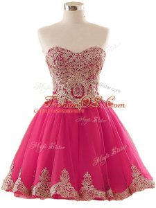 Excellent Hot Pink Tulle Lace Up Prom Dress Sleeveless Mini Length Appliques