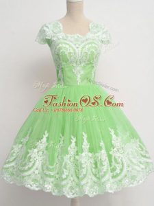 Edgy Cap Sleeves Knee Length Lace Zipper Dama Dress for Quinceanera