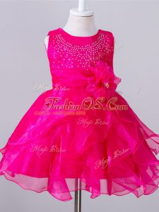 Hot Pink Organza Zipper Scoop Sleeveless Knee Length Little Girl Pageant Gowns Beading and Hand Made Flower