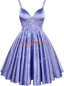 Deluxe Light Blue A-line Lace Bridesmaid Dresses Lace Up Elastic Woven Satin Sleeveless Knee Length