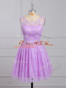 Smart Lilac Sleeveless Mini Length Appliques and Belt Lace Up Bridesmaid Dress