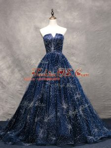 Tulle Sleeveless Red Carpet Prom Dress Brush Train and Beading