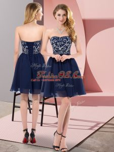Navy Blue Empire Chiffon Sweetheart Sleeveless Beading Mini Length Lace Up Evening Dress