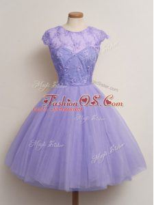 Lavender Lace Up Scoop Lace Bridesmaids Dress Tulle Cap Sleeves