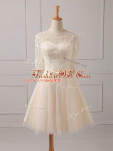 Champagne A-line Lace and Belt Bridesmaid Dress Lace Up Tulle Half Sleeves Mini Length