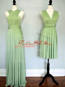 Modest Yellow Green Sleeveless Ruching Lace Up Wedding Party Dress