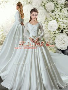 Gorgeous White A-line V-neck Long Sleeves Taffeta Chapel Train Lace Up Lace and Belt Wedding Gown