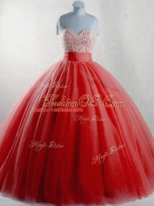 Modest Floor Length Red Vestidos de Quinceanera Sweetheart Sleeveless Lace Up