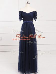 Navy Blue Short Sleeves Floor Length Ruching Lace Up Bridesmaid Dress