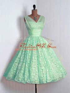 Top Selling Apple Green Lace Lace Up Wedding Guest Dresses Sleeveless Mini Length Lace