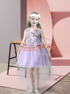 Pretty High Low Ball Gowns Sleeveless Lavender Little Girl Pageant Dress Zipper
