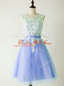 Fine Knee Length Light Blue Wedding Party Dress Tulle Sleeveless Lace