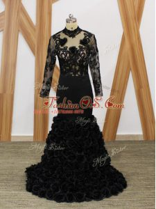Black Fabric With Rolling Flowers Backless Mother Of The Bride Dress Long Sleeves Brush Train Beading and Lace and Appliques and Hand Made Flower