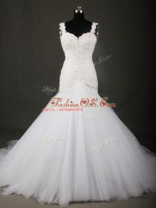 Straps Sleeveless Tulle Wedding Gowns Beading and Lace Court Train Backless