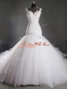 Cute White Sleeveless Chapel Train Lace Wedding Gowns