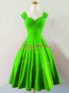 Mini Length Green Vestidos de Damas Taffeta Sleeveless Ruching