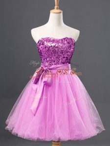 Lilac A-line Tulle Sweetheart Sleeveless Sequins Mini Length Zipper Party Dress