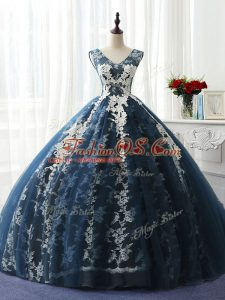 Stylish Sleeveless Ruffles and Pattern Lace Up 15 Quinceanera Dress