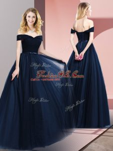 Perfect Off The Shoulder Sleeveless Tulle Military Ball Dresses Beading and Ruching and Belt Lace Up