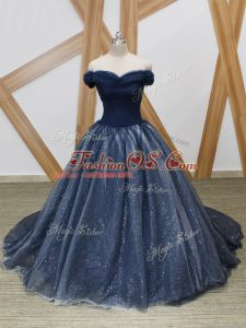 Elegant Sleeveless Brush Train Lace Up Ruching Military Ball Dresses