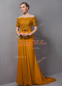 Gold Chiffon Zipper Off The Shoulder Short Sleeves Mother Of The Bride Dress Sweep Train Lace
