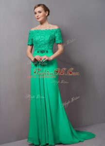 Flare Short Sleeves Chiffon Sweep Train Zipper Mother Of The Bride Dress in Green with Lace