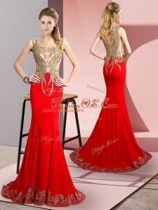 Ideal Red Elastic Woven Satin Side Zipper Runway Inspired Dress Sleeveless Brush Train Beading and Appliques